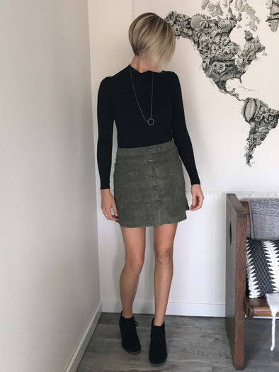 Monroe Button-Front Corduroy Skirt