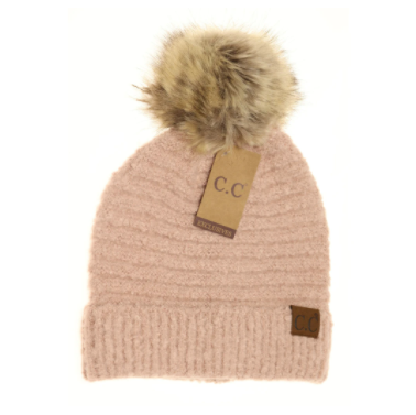 Solid Boucle Knit Pom