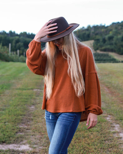 Sienna Waffle Knit Top