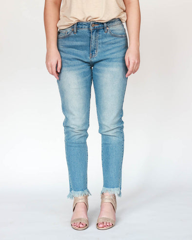 Zion High Rise Ankle-Fray Jeans