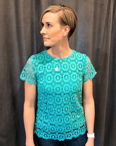 Button Back Lace Top - Teal
