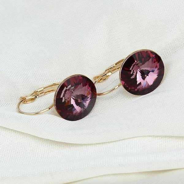 Austrian Crystal Purple Drop Earrings Stone - Bec's luxury store