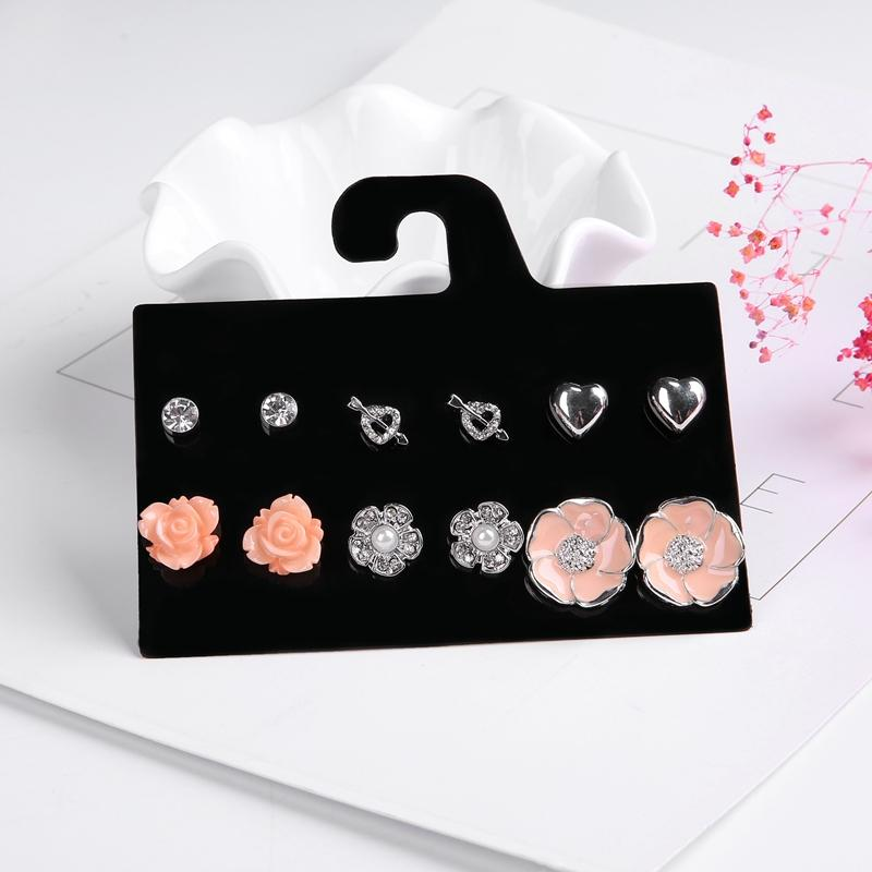 Newest Blue Rose Flower Heart Shaped Crystal Stud Earrings Set - Bec's luxury store