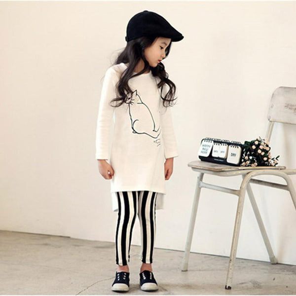 White Shirt Striped Long Pants Girl Set - Bec's luxury store