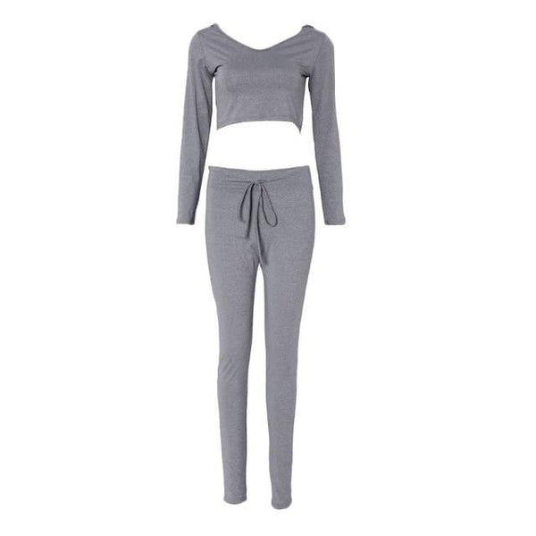 Crop top legging sweatpants outfit two piece set - Bec's luxury store