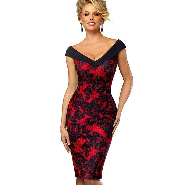 Vintage Elegant Business Party Bodycon Women Dress - Bec's luxury store