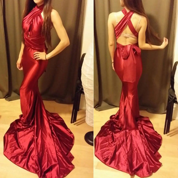 Sexy Mermaid Red Satin Dresses Floor Length Evening Party Dress - Bec's luxury store