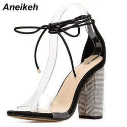 Aneikeh Women High Heels Sandals Summer Square Heels Crystal Heeled Platform Shoes Ladies Sexy Party Wedding Lace Up Shoes - Bec's luxury store
