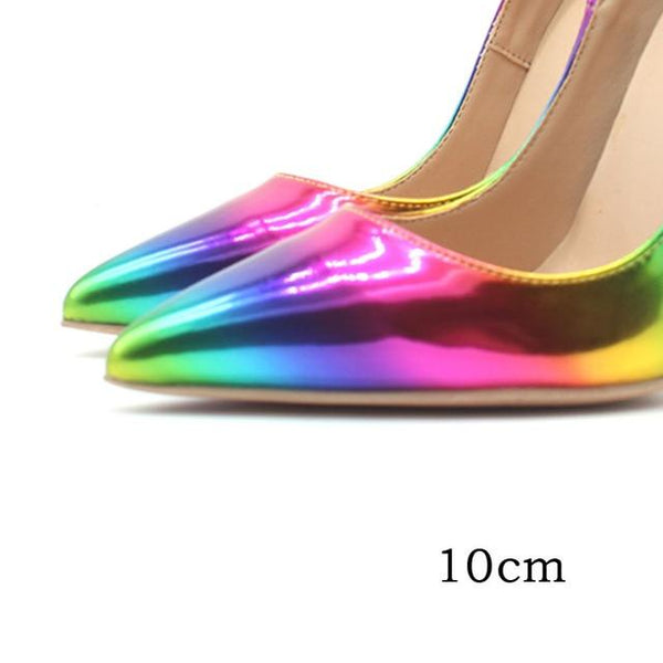 Colorful Rainbow Printed Pumps Genuine Leather Stilettos - Bec's luxury store
