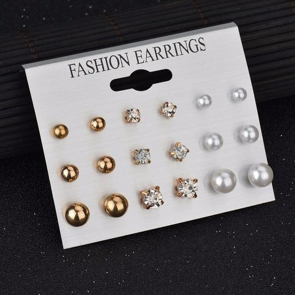 12 pair/set Women Stud Earrings - Bec's luxury store