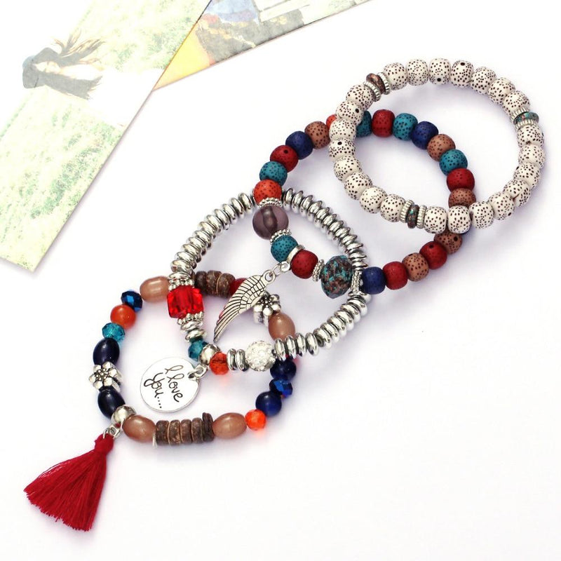 Fashion High Quality Boho Colorful Gem Long Wrap Bracelet for Women - Bec's luxury store