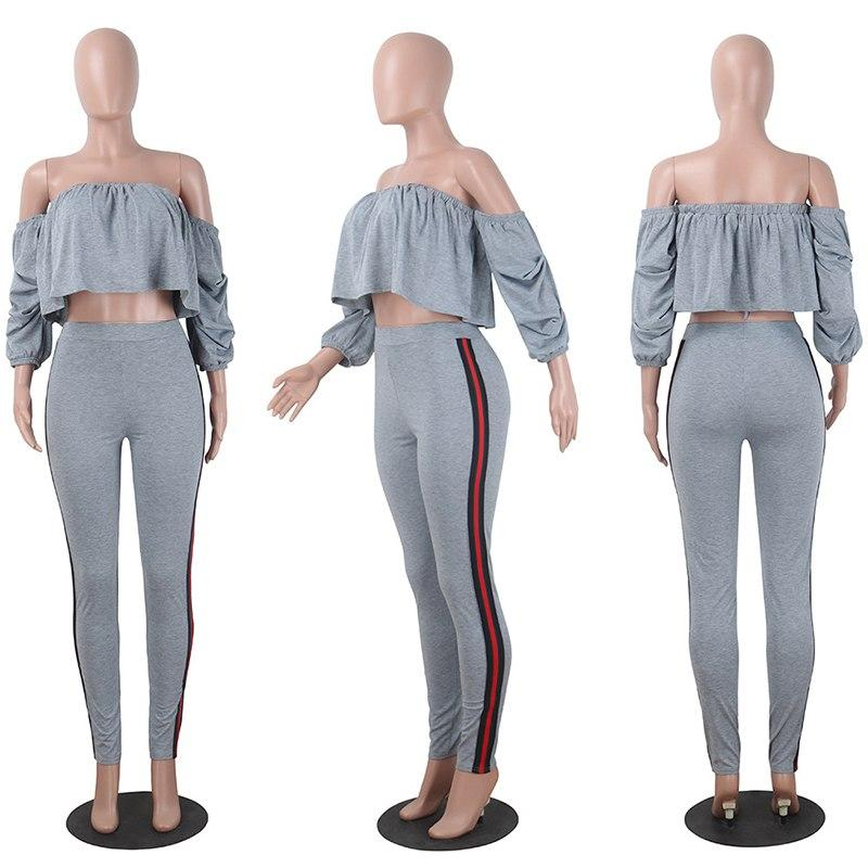 Off Shoulder Outfits Crop Top Ruffle Long Pants Striped 2 piece Suit - Bec's luxury store
