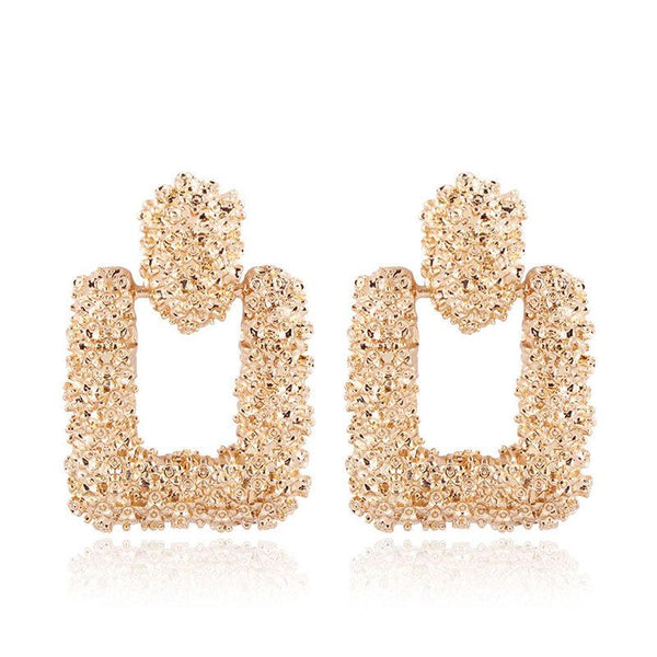 Vintage gold color Geometric statement earring - Bec's luxury store