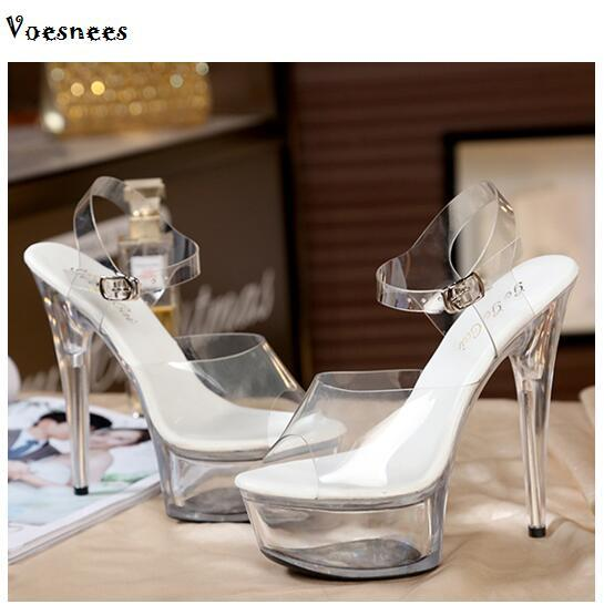 Female Model T Station Catwalk Sexy Crystal Transparent Shoes 15CM High Heels Waterproof - Bec's luxury store