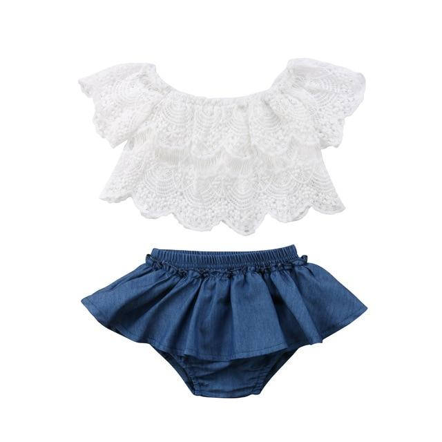 Denim Shorts Dress Outfits Baby Girl - Bec's luxury store