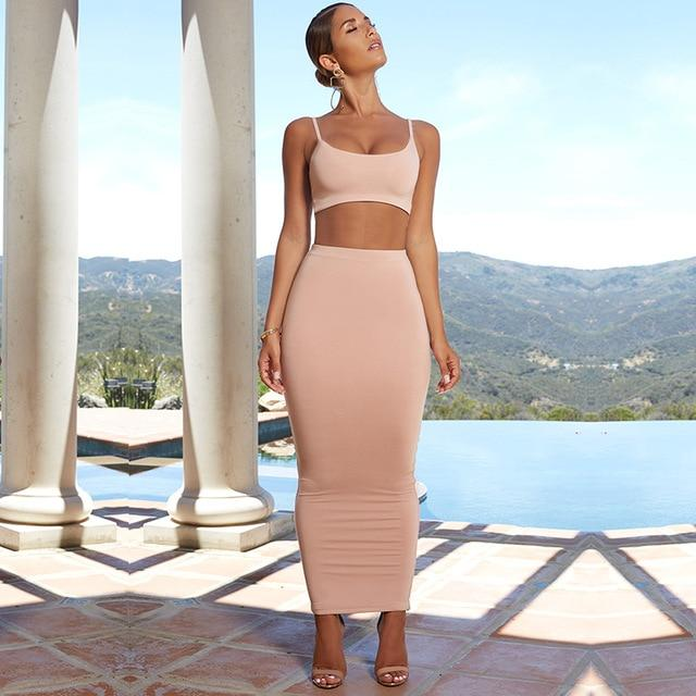2 Layers Maxi Dress Long Bodycon Dress - Bec's luxury store