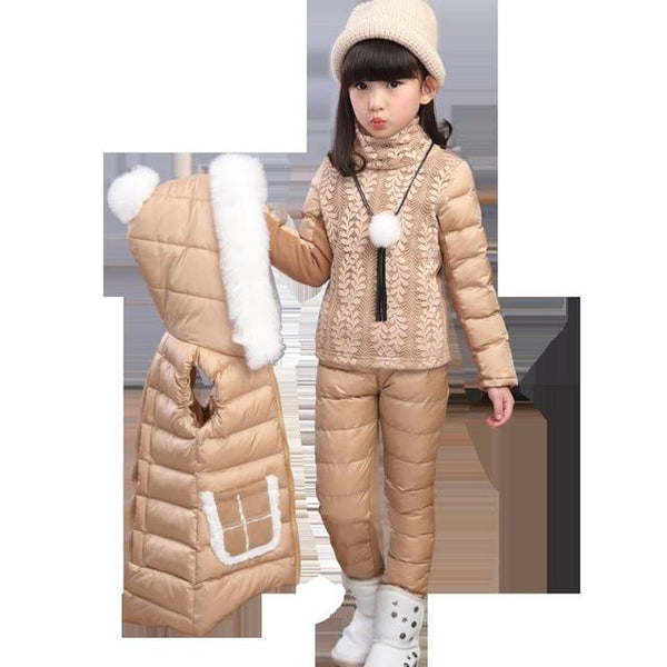 3 Pieces Girl Cotton Coat With Fur Hood - Bec's luxury store