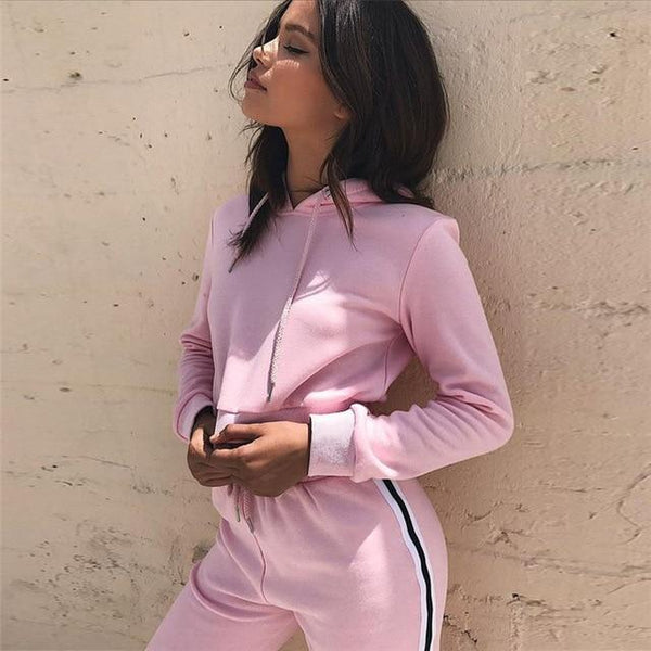 Outfits Crop Top and Long Pants Two Piece Set Hoodies Tracksuits - Bec's luxury store