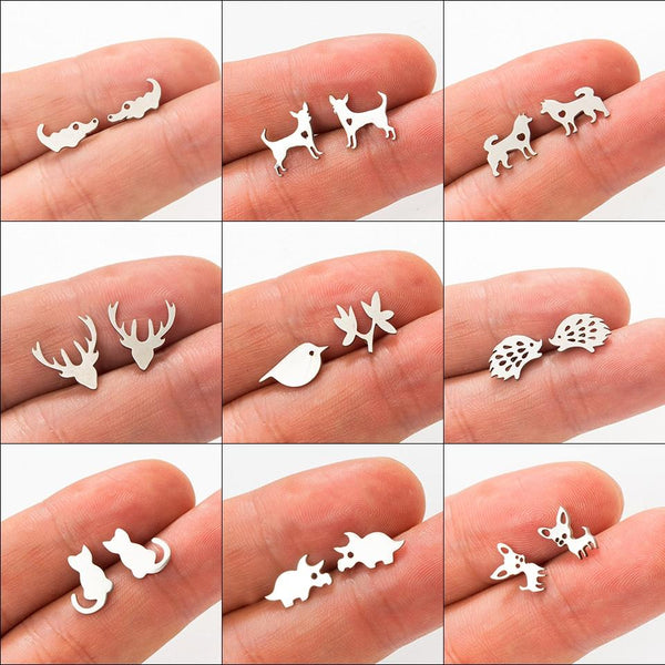 Minimalist Golden and Silver Stainless Steel Animal Cute Stud Earrings - Bec's luxury store