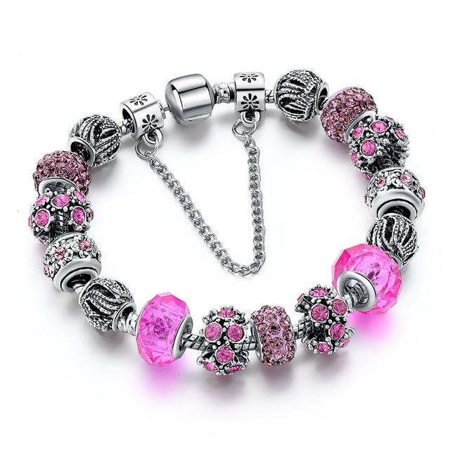 New Crystal Beads Bangles Silver Plated Charm  Bracelets - Bec's luxury store