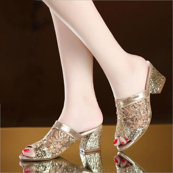 Bling fashion square heel summer lace slippers Hollow sandals - Bec's luxury store