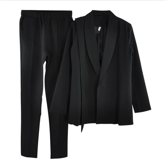 Shawl collar belted blazer jacket and pant two piece set - Bec's luxury store
