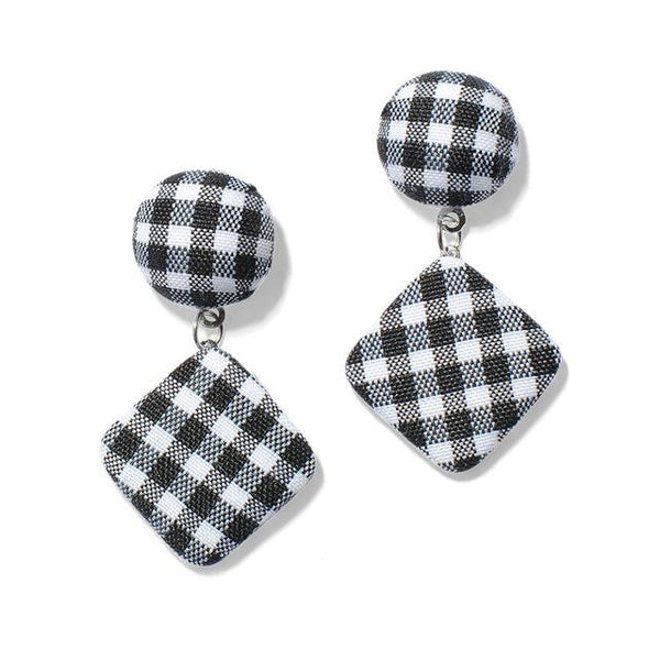 10 Style Fabric Grid Pattern Drop Earrings - Bec's luxury store
