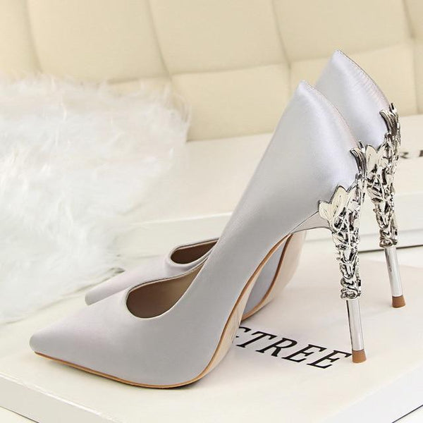 Elegant 2019 High Quality Fashion Sexy Silk High Heels Shoes - Bec's luxury store