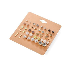 20 Pairs Pack Elegant Mixed Geometric Heart Flower Stud Earrings Set - Bec's luxury store