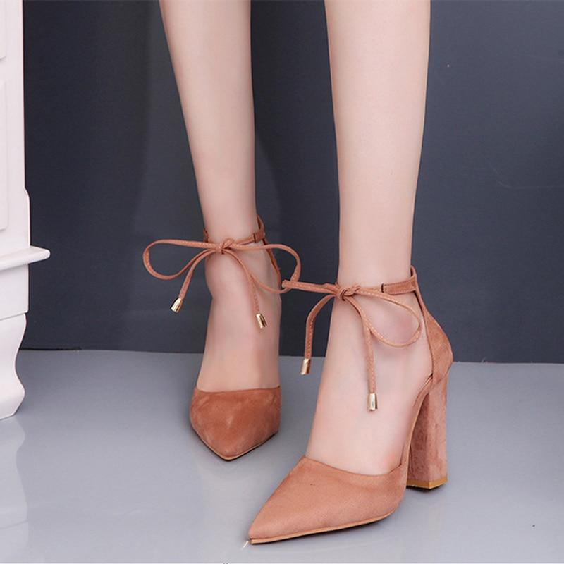 Women Sexy High Heels Shoes ladies Lace Up Point Toe - Bec's luxury store