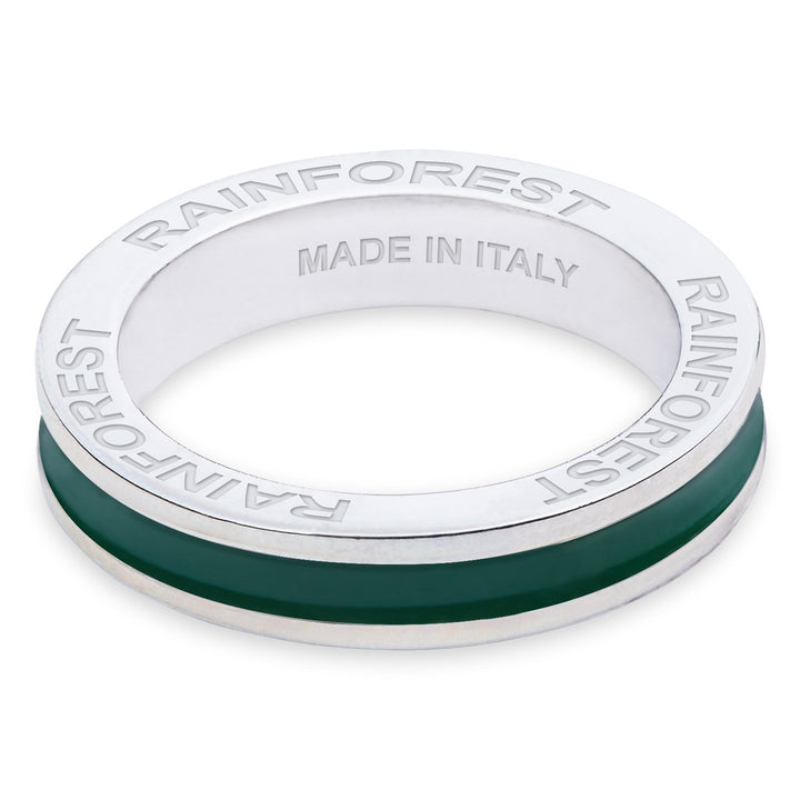 "Xtinctio - Hand made in Italy by a 3rd generation Goldsmith. This eco conscious white Bronze and lush green enamel band is engraved with the word ""Rainforest""."