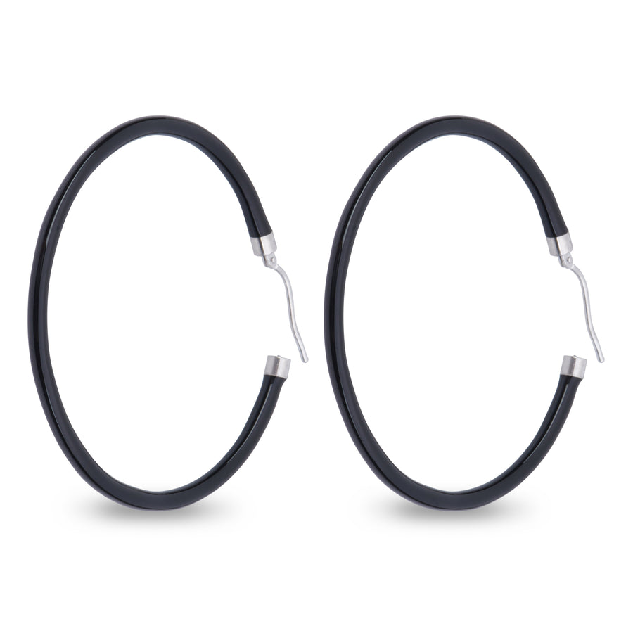 Xtinctio - These circular bronze enameled hoop earrings are hand made in Italy by a 3rd generation goldsmith using the ancient Etruscan art of enameling.  designed in color Black  in honor of the majestic Rhinoceros.