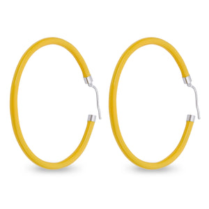 Xtinctio - These circular bronze enameled hoop earrings are hand made in Italy by a 3rd generation goldsmith using the ancient Etruscan art of enameling.  designed in color yellow in honor of the unique Tiger.