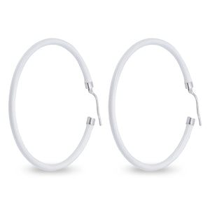 Xtinctio - These circular bronze enameled hoop earrings are hand made in Italy by a 3rd generation goldsmith using the ancient Etruscan art of enameling.  designed in color white  in honor of the powerful polar bear.