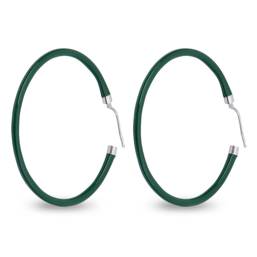 Xtinctio - These circular bronze enameled hoop earrings are hand made in Italy by a 3rd generation goldsmith using the ancient Etruscan art of enameling.  designed in color green  in honor of the beautiful rainforest.