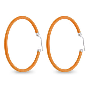 Xtinctio - These circular bronze enameled hoop earrings are hand made in Italy by a 3rd generation goldsmith using the ancient Etruscan art of enameling.  designed in color Orange in honor of the solitary Orangutan.