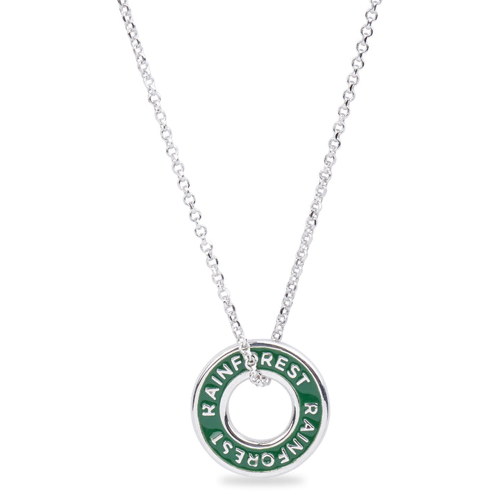 "Xtinctio - Necklace This Etruscan pendant is hand made in Italy by a 3rd generation goldsmith and engraved with the word ""Rainforest"" on green enamel.  The pendant hangs on a sterling silver necklace and represents your commitment to protecting the critically endangered rainforest habitat."
