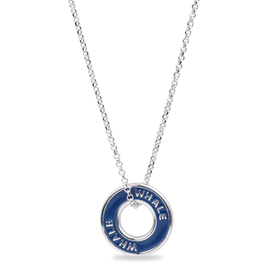 "Xtinctio - This Etruscan pendant is hand made in Italy by a third generation goldsmith and engraved with the word ""Whale"" on navy blue enamel."