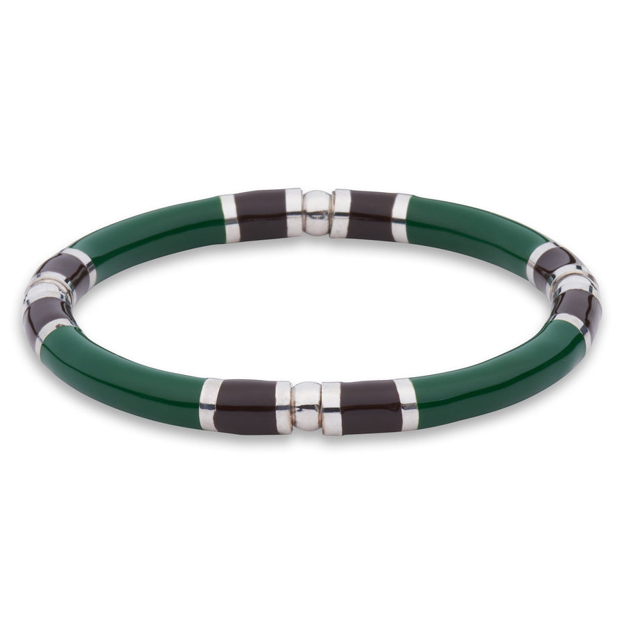 Xtinctio - Stretch Bangle comfortable, timeless and chic. Hand made in Italy by a 3rd generation Goldsmith.  Eco conscious White Bronze and green enamel.  Imbued with the spirit of the Rainforest