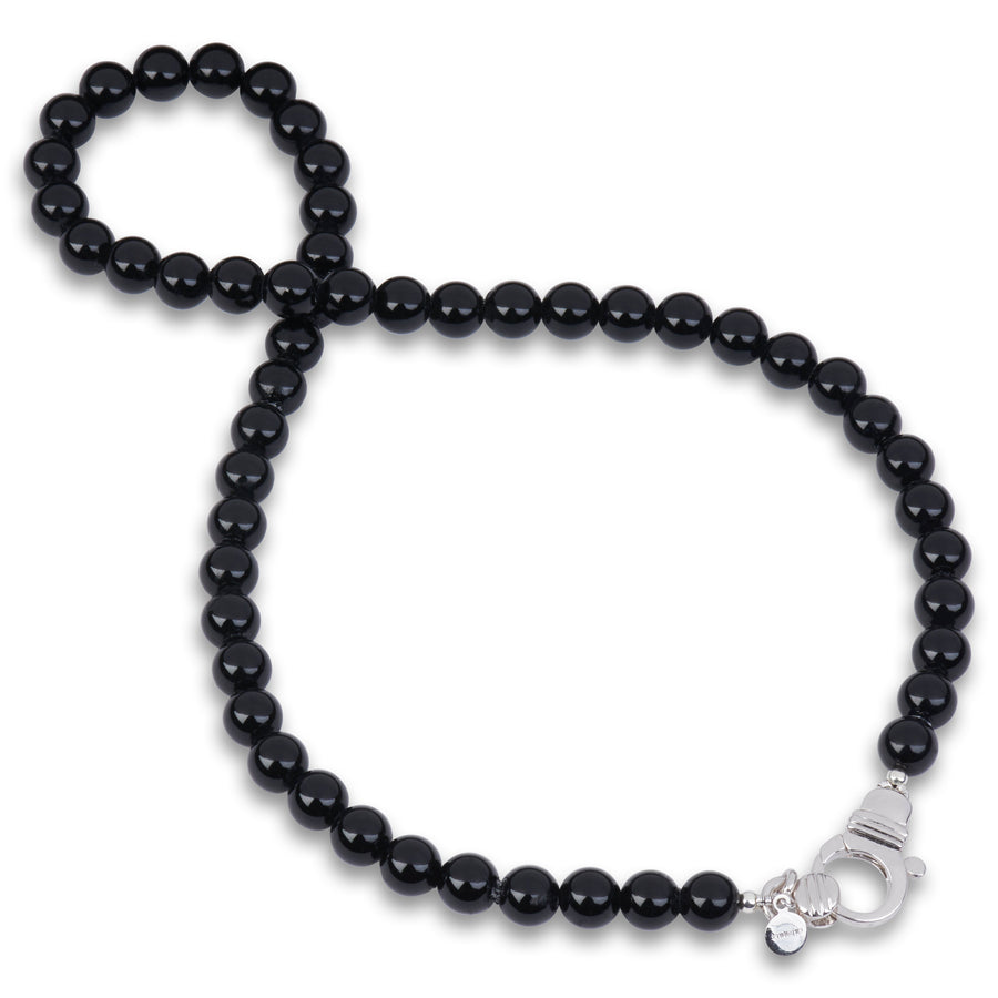 Black Onyx Beaded Necklace 8mm