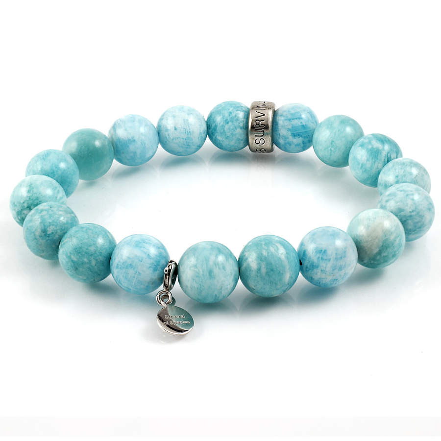 Xtinctio - Bracelet This Amazonite  Stretch Beaded Bracelet is eco conscious, fun, durable and lovingly hand made it represents our commitment to protect the Ocean. 50 % of all profits go to support the protection of endangered species and their environments.