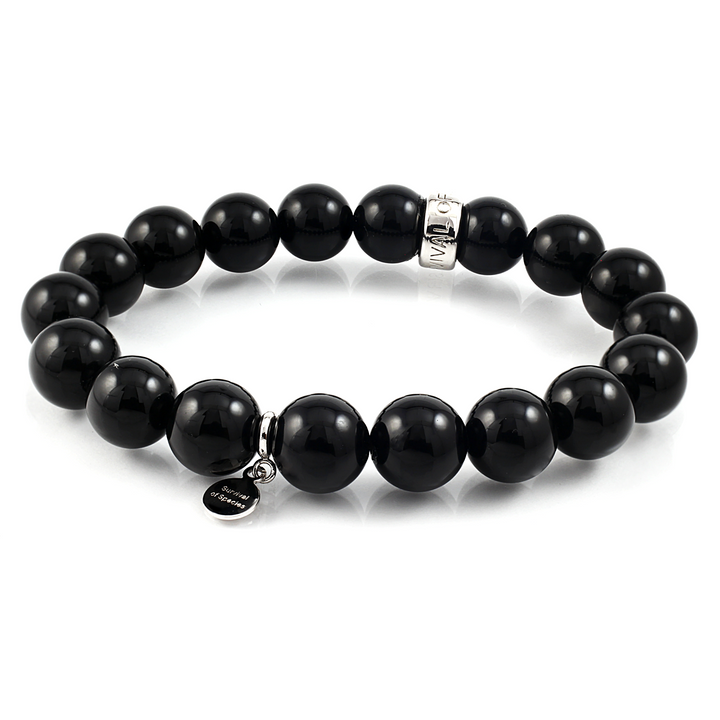 Black Onyx Stretch Beaded Bracelet