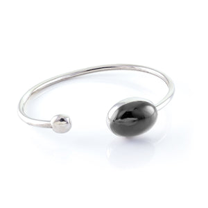 Elephant Oval Enameled Silver Bangle