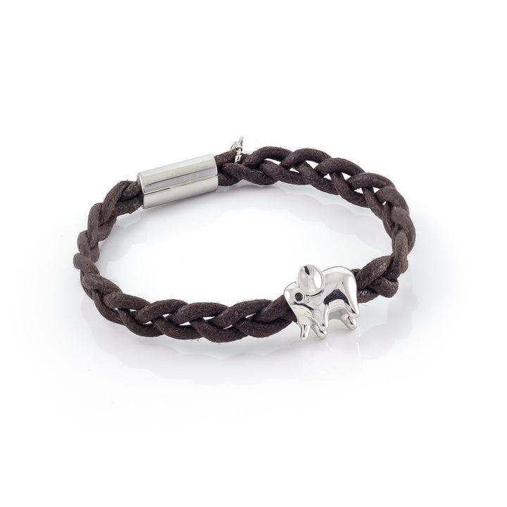 Xtinctio - Bracelet Unisex eco friendly waxed linen/cotton cord with animal charm (brass dipped in platinum) and magnetic steel clasp.  Imbued with the spirit of the endangered Elephant