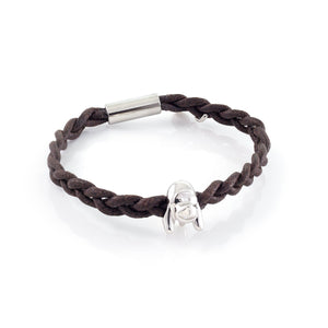 Xtinctio - Bracelet Unisex eco friendly waxed linen/cotton cord with animal charm (brass dipped in platinum) and magnetic steel clasp.  Imbued with the spirit of the endangered Orangurtan