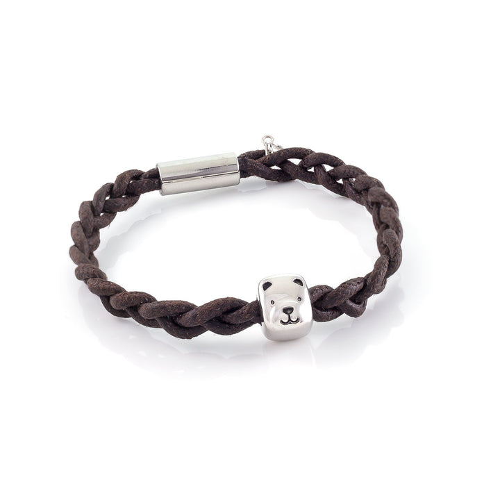 Xtinctio - Bracelet - Unisex eco friendly waxed linen/cotton cord with Polar Bear animal charm (brass dipped in platinum) and magnetic steel clasp.  This bracelet is made in honor of the critically endangered Polar Bear   Xtinctio - For The Survival Of The Species -