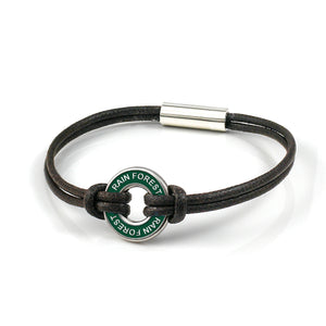 Xtinctio Bracelet - Individually hand forged in Italy from White Bronze and green Etruscan Enamel in honor of the rainforest.t  Eco friendly cotton linen blend waxed cord sourced in Italy.