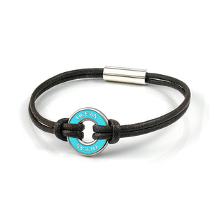 xtinctio - Individually hand forged in Italy from White Bronze and Turquoise Etruscan Enamel in honor of the Ocean. Xtinctio - Eco friendly cotton linen blend waxed cord sourced in Italy