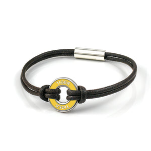 xtinctio - cord bracelet Individually hand forged in Italy from White Bronze and yellow Etruscan Enamel in honor of the critically endangered Tiger.  Eco friendly cotton linen blend waxed cord sourced in Italy.