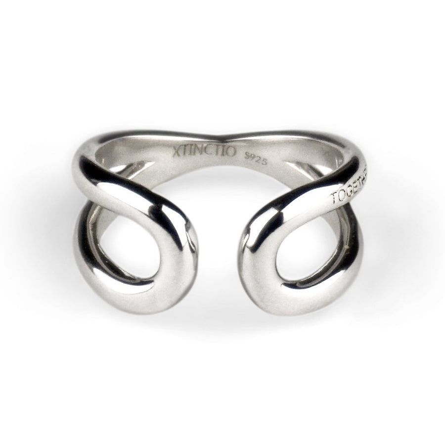 "Xtinctio This 'Together Ring' in 925 Sterling Silver is engraved with the word ""TOGETHER"" that symbolizes our interdependence with everything on earth. It is a positive reminder of our connection to every living thing in this age of extinction.  50% of all profits go towards protecting the most endangered species on the planet earth.   Xtinctio  -For The Survival Of The Species-"